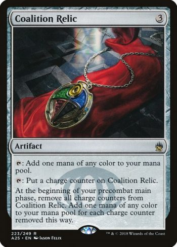 Card Name: Coalition Relic. Mana Cost: {3}. Card Oracle Text: {T}: Add one mana of any color.{T}: Put a charge counter on Coalition Relic.At the beginning of your precombat main phase, remove all charge counters from Coalition Relic. Add one mana of any color for each charge counter removed this way.