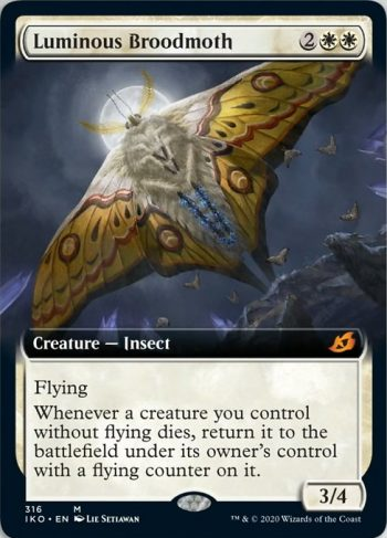 Card Name: Luminous Broodmoth. Mana Cost: {2}{W}{W}. Card Oracle Text: FlyingWhenever a creature you control without flying dies, return it to the battlefield under its owner's control with a flying counter on it.. Power/Toughness: 3/4