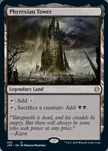 Card Name: Phyrexian Tower. Mana Cost: . Card Oracle Text: {T}: Add {C}.{T}, Sacrifice a creature: Add {B}{B}.