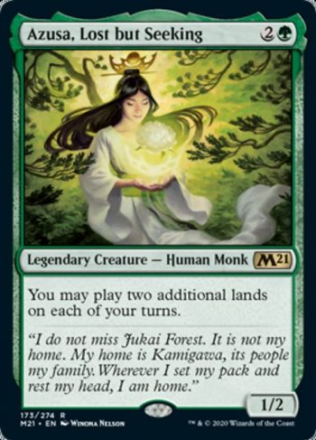 Card Name: Azusa, Lost but Seeking. Mana Cost: {2}{G}. Card Oracle Text: You may play two additional lands on each of your turns.. Power/Toughness: 1/2
