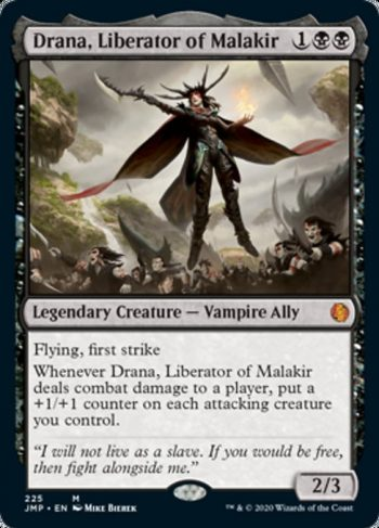 Card Name: Drana, Liberator of Malakir. Mana Cost: {1}{B}{B}. Card Oracle Text: Flying, first strikeWhenever Drana, Liberator of Malakir deals combat damage to a player, put a +1/+1 counter on each attacking creature you control.. Power/Toughness: 2/3