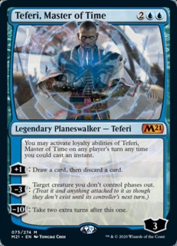 Card Name: Teferi, Master of Time. Mana Cost: {2}{U}{U}. Card Oracle Text: You may activate loyalty abilities of Teferi, Master of Time on any player's turn any time you could cast an instant.+1: Draw a card, then discard a card.−3: Target creature you don't control phases out. (Treat it and anything attached to it as though they don't exist until its controller's next turn.)−10: Take two extra turns after this one.