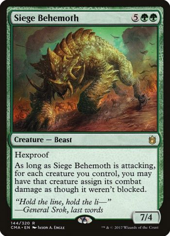 Card Name: Siege Behemoth. Mana Cost: {5}{G}{G}. Card Oracle Text: HexproofAs long as Siege Behemoth is attacking, for each creature you control, you may have that creature assign its combat damage as though it weren't blocked.. Power/Toughness: 7/4