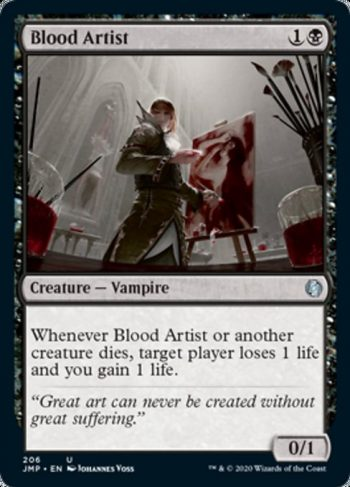 Card Name: Blood Artist. Mana Cost: {1}{B}. Card Oracle Text: Whenever Blood Artist or another creature dies, target player loses 1 life and you gain 1 life.. Power/Toughness: 0/1