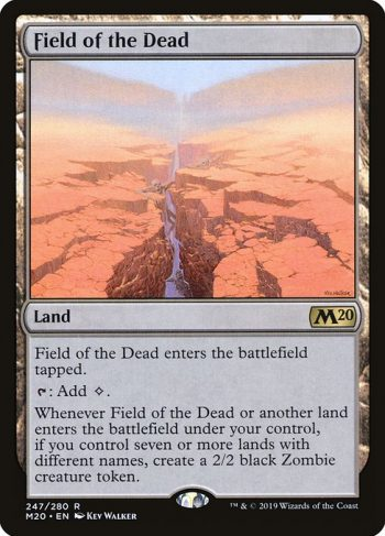 Card Name: Field of the Dead. Mana Cost: . Card Oracle Text: Field of the Dead enters the battlefield tapped.{T}: Add {C}.Whenever Field of the Dead or another land enters the battlefield under your control, if you control seven or more lands with different names, create a 2/2 black Zombie creature token.