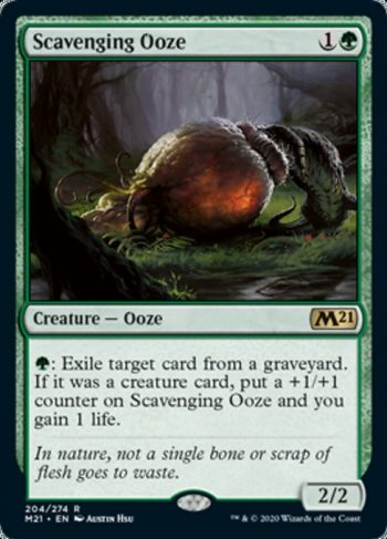 Card Name: Scavenging Ooze. Mana Cost: {1}{G}. Card Oracle Text: {G}: Exile target card from a graveyard. If it was a creature card, put a +1/+1 counter on Scavenging Ooze and you gain 1 life.. Power/Toughness: 2/2
