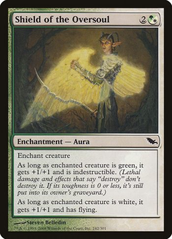 Card Name: Shield of the Oversoul. Mana Cost: {2}{G/W}. Card Oracle Text: Enchant creatureAs long as enchanted creature is green, it gets +1/+1 and has indestructible. (Damage and effects that say