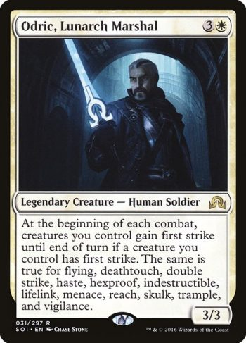 Card Name: Odric, Lunarch Marshal. Mana Cost: {3}{W}. Card Oracle Text: At the beginning of each combat, creatures you control gain first strike until end of turn if a creature you control has first strike. The same is true for flying, deathtouch, double strike, haste, hexproof, indestructible, lifelink, menace, reach, skulk, trample, and vigilance.. Power/Toughness: 3/3