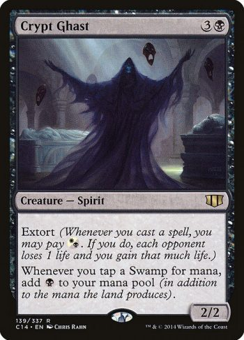 Card Name: Crypt Ghast. Mana Cost: {3}{B}. Card Oracle Text: Extort (Whenever you cast a spell, you may pay {W/B}. If you do, each opponent loses 1 life and you gain that much life.)Whenever you tap a Swamp for mana, add an additional {B}.. Power/Toughness: 2/2