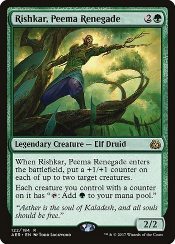 Card Name: Rishkar, Peema Renegade. Mana Cost: {2}{G}. Card Oracle Text: When Rishkar, Peema Renegade enters the battlefield, put a +1/+1 counter on each of up to two target creatures.Each creature you control with a counter on it has