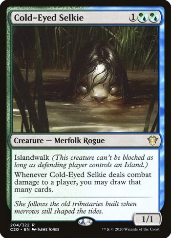 Card Name: Cold-Eyed Selkie. Mana Cost: {1}{G/U}{G/U}. Card Oracle Text: Islandwalk (This creature can't be blocked as long as defending player controls an Island.)Whenever Cold-Eyed Selkie deals combat damage to a player, you may draw that many cards.. Power/Toughness: 1/1