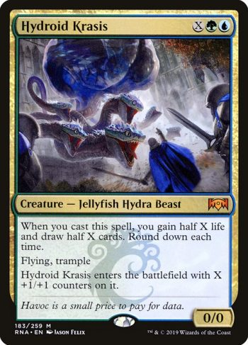 Card Name: Hydroid Krasis. Mana Cost: {X}{G}{U}. Card Oracle Text: When you cast this spell, you gain half X life and draw half X cards. Round down each time.Flying, trampleHydroid Krasis enters the battlefield with X +1/+1 counters on it.. Power/Toughness: 0/0