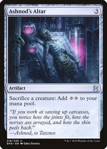 Card Name: Ashnod's Altar. Mana Cost: {3}. Card Oracle Text: Sacrifice a creature: Add {C}{C}.