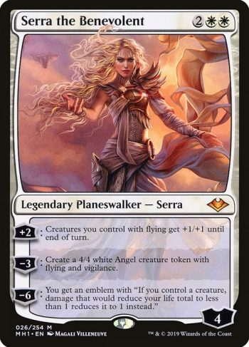 Card Name: Serra the Benevolent. Mana Cost: {2}{W}{W}. Card Oracle Text: +2: Creatures you control with flying get +1/+1 until end of turn.−3: Create a 4/4 white Angel creature token with flying and vigilance.−6: You get an emblem with