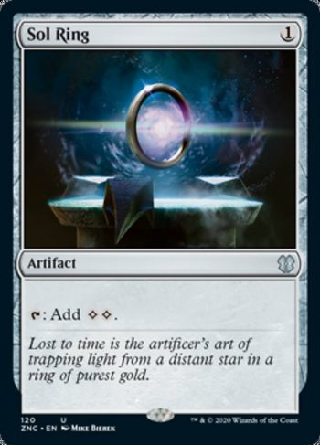 Card Name: Sol Ring. Mana Cost: {1}. Card Oracle Text: {T}: Add {C}{C}.
