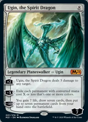 Card Name: Ugin, the Spirit Dragon. Mana Cost: {8}. Card Oracle Text: +2: Ugin, the Spirit Dragon deals 3 damage to any target.−X: Exile each permanent with converted mana cost X or less that's one or more colors.−10: You gain 7 life, draw seven cards, then put up to seven permanent cards from your hand onto the battlefield.