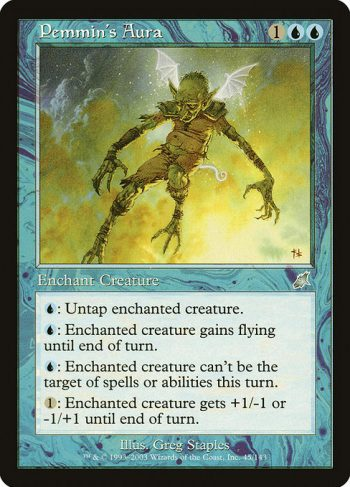 Card Name: Pemmin's Aura. Mana Cost: {1}{U}{U}. Card Oracle Text: Enchant creature{U}: Untap enchanted creature.{U}: Enchanted creature gains flying until end of turn.{U}: Enchanted creature gains shroud until end of turn. (It can't be the target of spells or abilities.){1}: Enchanted creature gets +1/-1 or -1/+1 until end of turn.