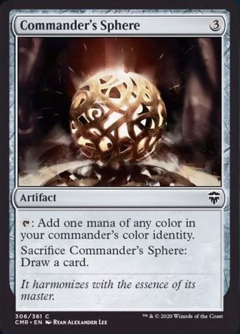 Card Name: Commander's Sphere. Mana Cost: {3}. Card Oracle Text: {T}: Add one mana of any color in your commander's color identity.Sacrifice Commander's Sphere: Draw a card.