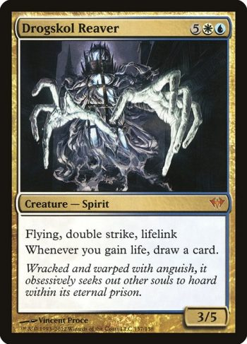 Card Name: Drogskol Reaver. Mana Cost: {5}{W}{U}. Card Oracle Text: Flying, double strike, lifelinkWhenever you gain life, draw a card.. Power/Toughness: 3/5