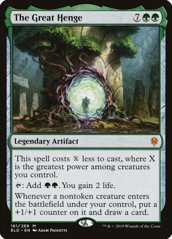 Card Name: The Great Henge. Mana Cost: {7}{G}{G}. Card Oracle Text: This spell costs {X} less to cast, where X is the greatest power among creatures you control.{T}: Add {G}{G}. You gain 2 life.Whenever a nontoken creature enters the battlefield under your control, put a +1/+1 counter on it and draw a card.