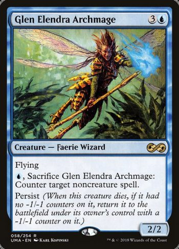 Card Name: Glen Elendra Archmage. Mana Cost: {3}{U}. Card Oracle Text: Flying{U}, Sacrifice Glen Elendra Archmage: Counter target noncreature spell.Persist (When this creature dies, if it had no -1/-1 counters on it, return it to the battlefield under its owner's control with a -1/-1 counter on it.). Power/Toughness: 2/2