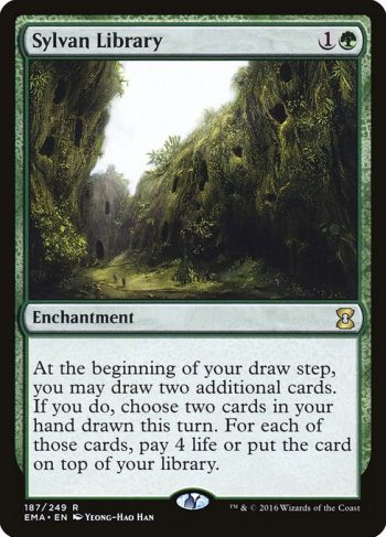 Card Name: Sylvan Library. Mana Cost: {1}{G}. Card Oracle Text: At the beginning of your draw step, you may draw two additional cards. If you do, choose two cards in your hand drawn this turn. For each of those cards, pay 4 life or put the card on top of your library.
