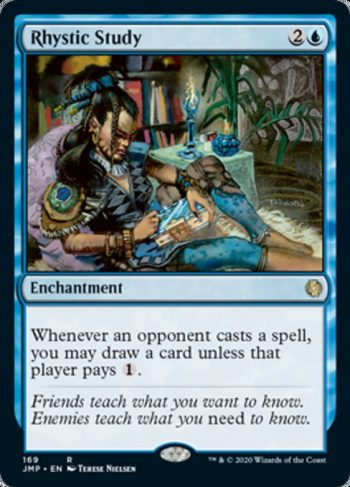 Card Name: Rhystic Study. Mana Cost: {2}{U}. Card Oracle Text: Whenever an opponent casts a spell, you may draw a card unless that player pays {1}.