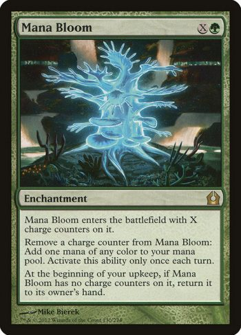 Card Name: Mana Bloom. Mana Cost: {X}{G}. Card Oracle Text: Mana Bloom enters the battlefield with X charge counters on it.Remove a charge counter from Mana Bloom: Add one mana of any color. Activate this ability only once each turn.At the beginning of your upkeep, if Mana Bloom has no charge counters on it, return it to its owner's hand.