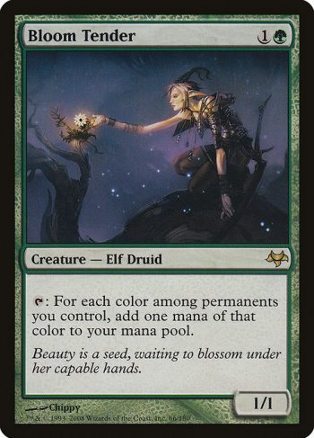 Card Name: Bloom Tender. Mana Cost: {1}{G}. Card Oracle Text: {T}: For each color among permanents you control, add one mana of that color.. Power/Toughness: 1/1