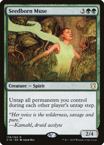 Card Name: Seedborn Muse. Mana Cost: {3}{G}{G}. Card Oracle Text: Untap all permanents you control during each other player's untap step.. Power/Toughness: 2/4