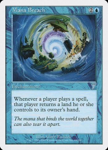 Card Name: Mana Breach. Mana Cost: {2}{U}. Card Oracle Text: Whenever a player casts a spell, that player returns a land they control to its owner's hand.