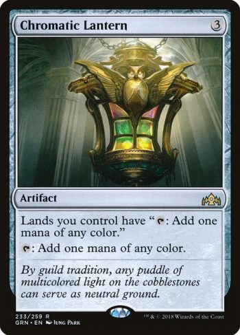 Card Name: Chromatic Lantern. Mana Cost: {3}. Card Oracle Text: Lands you control have