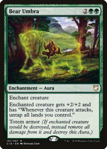 Card Name: Bear Umbra. Mana Cost: {2}{G}{G}. Card Oracle Text: Enchant creatureEnchanted creature gets +2/+2 and has