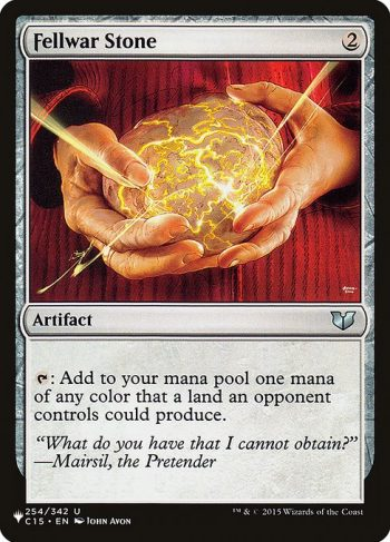 Card Name: Fellwar Stone. Mana Cost: {2}. Card Oracle Text: {T}: Add one mana of any color that a land an opponent controls could produce.