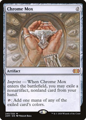 Card Name: Chrome Mox. Mana Cost: {0}. Card Oracle Text: Imprint — When Chrome Mox enters the battlefield, you may exile a nonartifact, nonland card from your hand.{T}: Add one mana of any of the exiled card's colors.