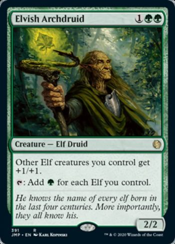 Card Name: Elvish Archdruid. Mana Cost: {1}{G}{G}. Card Oracle Text: Other Elf creatures you control get +1/+1.{T}: Add {G} for each Elf you control.. Power/Toughness: 2/2